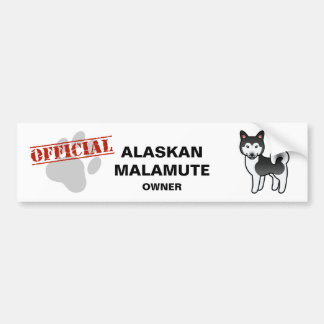 Black And White Alaskan Malamute Cartoon Dog Bumper Sticker