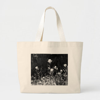 Black and White Alpine Flowers Jumbo Tote Bag