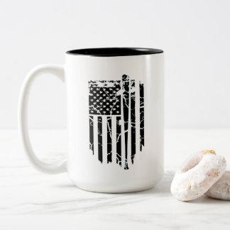 Black and White American Baseball Bat Flag Two-Tone Coffee Mug