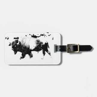 Black and White American Bison Buffalo Luggage Tag