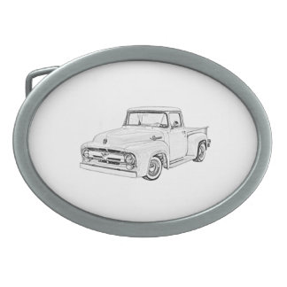 Black and White American Pickup Truck Drawing Oval Belt Buckle
