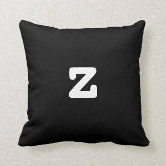 Black and white Anagram Pillow Lowercase Letter z Throw Cushion