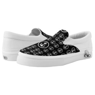 Black and White Anchor Patter Sneaker Slip-On Shoes