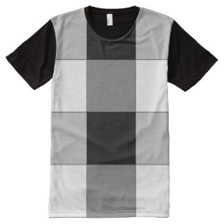 Black and White and Gray Checkered T-shirt All-Over Print T-Shirt