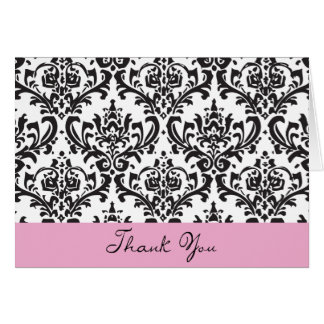Black and White and Pink ThankYou Note Card