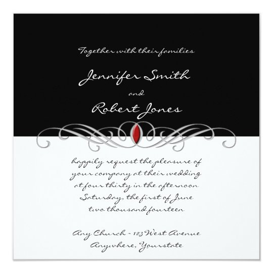 Black and White and Ruby Accent Wedding Invitation