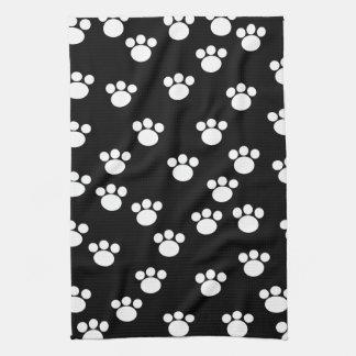 Black and White Animal Paw Print Pattern. Tea Towel