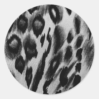 Black and white animal print pattern classic round sticker