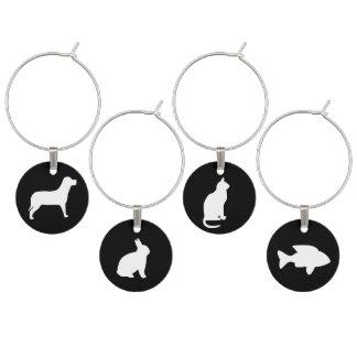 Black and White Animals: Cat, Dog, Rabbit, Fish Wine Charms