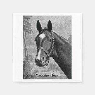 Black and White Antique Vintage Horse Illustration Paper Napkin