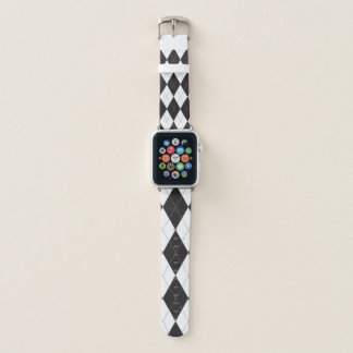 Black and White Argyle Pattern Apple Watch Band