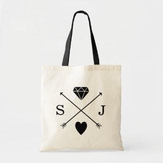 Black and White Arrow Wedding Monogram Tote Bag