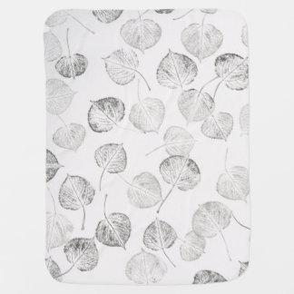 Black and White Aspen Leaves Baby Blanket