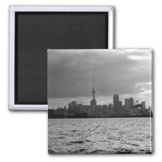 Black and White Auckland Skyline Magnet