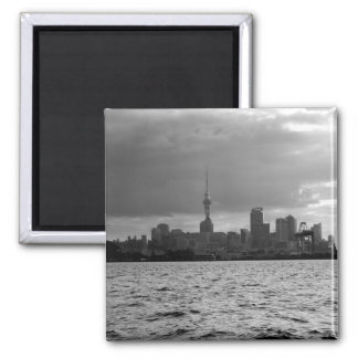 Black and White Auckland Skyline Square Magnet