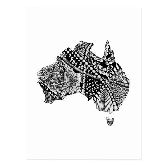 Australia Map Art.Black And White Australia Map Art Original Postcard