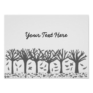 Black and white Autumn trees Posters