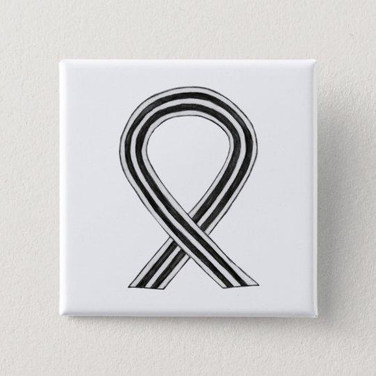 Black and White Awareness Ribbon Custom Pin