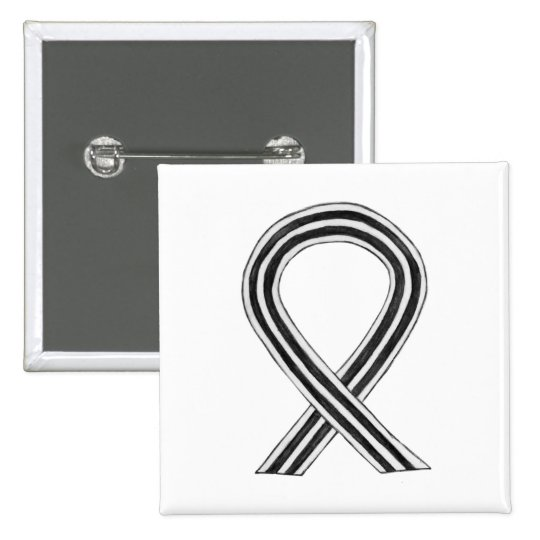 Black and White Awareness Ribbon Custom Pin
