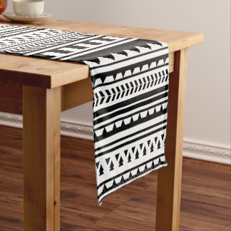 Black and White Aztec Geometric Triangle Pattern