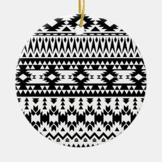 Black and White Aztec geometric vector pattern Ceramic Ornament