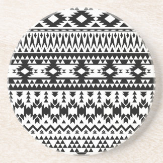 Black and White Aztec geometric vector pattern Coaster