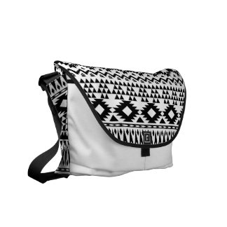 Black and White Aztec geometric vector pattern Commuter Bags