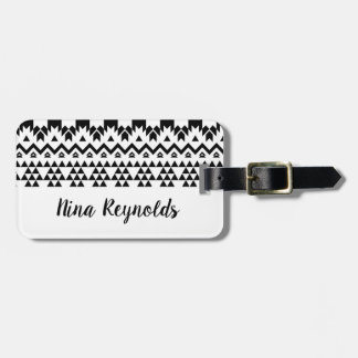 Black and White Aztec geometric vector pattern Luggage Tag