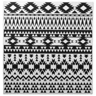 Black and White Aztec geometric vector pattern Napkin