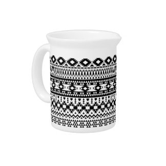 Black and White Aztec geometric vector pattern Pitcher
