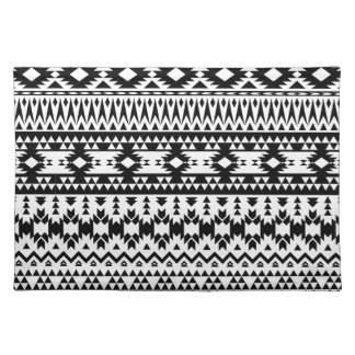 Black and White Aztec geometric vector pattern Placemat
