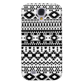 Black and White Aztec geometric vector pattern Samsung Galaxy S4 Cases