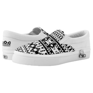 Black and White Aztec geometric vector pattern Slip-On Shoes