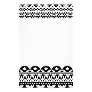 Black and White Aztec geometric vector pattern Stationery
