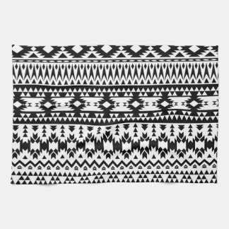 Black and White Aztec geometric vector pattern Tea Towel