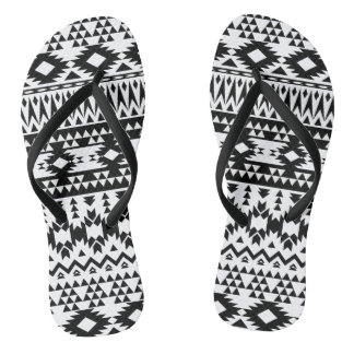 Black and White Aztec geometric vector pattern Thongs