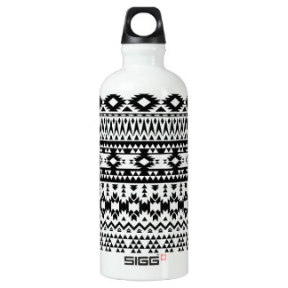 Black and White Aztec geometric vector pattern Water Bottle
