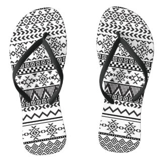 Black and White Aztec Pattern Flip Flops Thongs