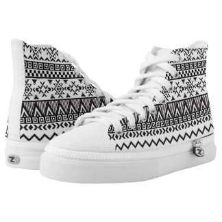 Black and White Aztec Pattern High Top Shoes Printed Shoes