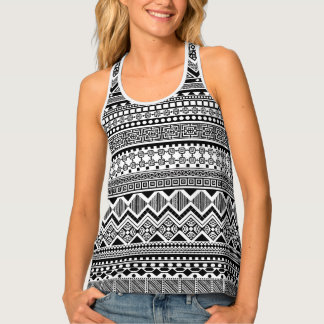 black and white Aztec pattern Tank Top
