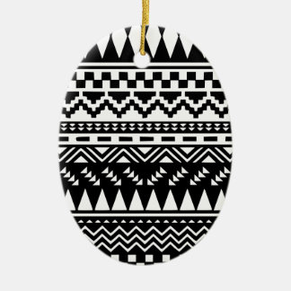 Black and White Aztec Tribal Ceramic Ornament