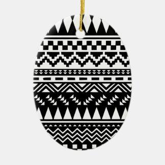 Black and White Aztec Tribal Ceramic Oval Decoration