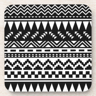 Black and White Aztec Tribal Drink Coaster