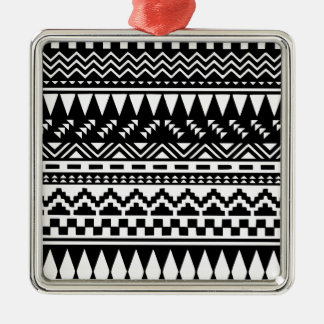 Black and White Aztec Tribal Metal Ornament
