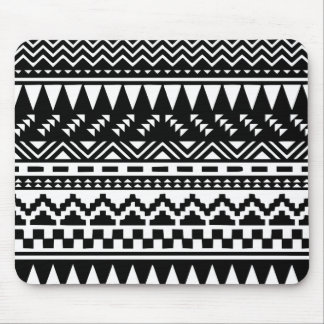 Black and White Aztec Tribal Mouse Pad