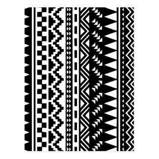 Black and White Aztec Tribal Postcard