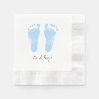 Black and White Baby Footprints Paper Napkin