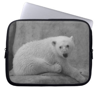 Black and White Baby Polar Bear Laptop Sleeve