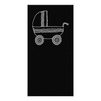 Black and White Baby Stroller. Custom Photo Card