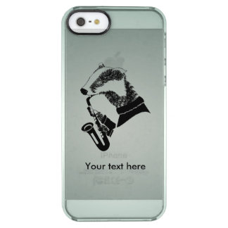 Black and White Badger Saxophone Customizable Clear iPhone SE/5/5s Case